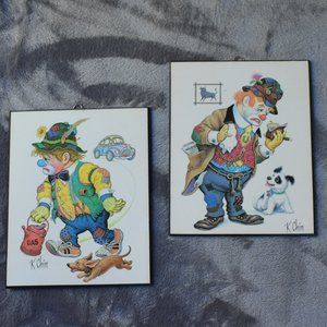 Vintage K Chin Set of 2 Clown Prints on Wood